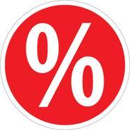 """Sticker """"%""""-teken, rond"""
