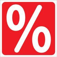 "Sticker ""%""-teken, hoekig"