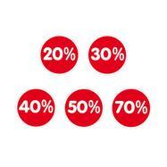 """Sticker """"%"""", diverse kortingen"""