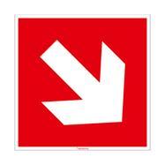 Nooduitgang met pijl bord diagonaal