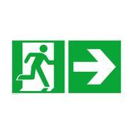 Nooduitgang rechts met richtingspijl rechts