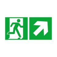 Issue de secours droite avec flèche directionnelle vers le haut à droite