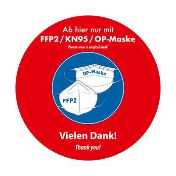 "Outdoor vloersticker ""FFP2 / KN95 / medisch mondkapje dragen"""