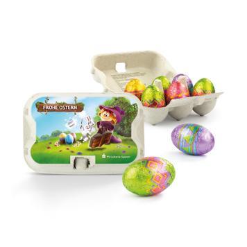 Oster-Sixpack mit Eiern aus Vollmilchschokolade