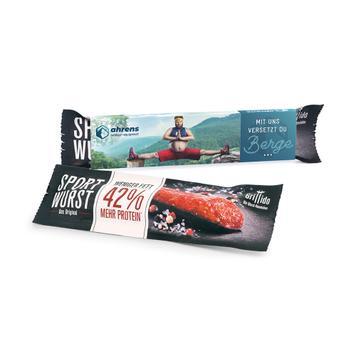 Mini-salami in een reclame-slipcase