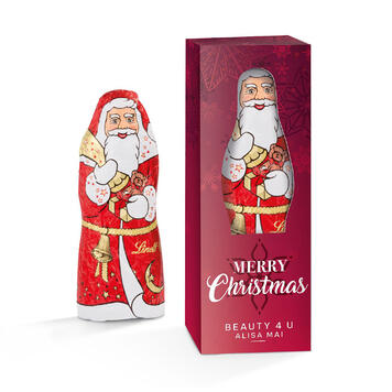 Lindt kerstman in een bedrukte reclamebox