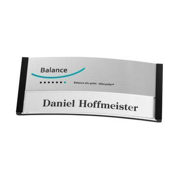 """Naambadge """"Balance Alu-Print"""" incl. bijkomende drukkosten"""