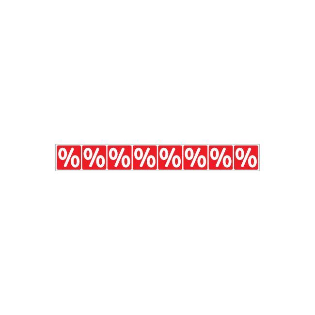 """Sticker, banderol met """"%"""", horizontaal"""