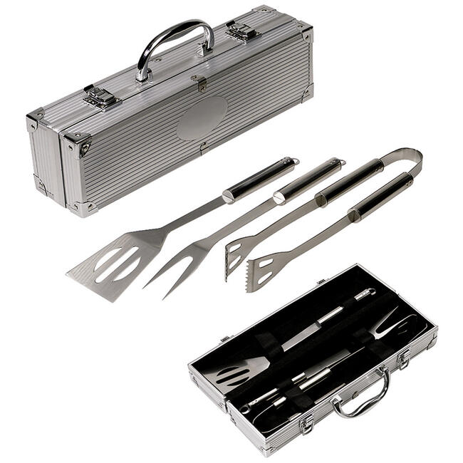 BBQ bestekset in aluminium koffer