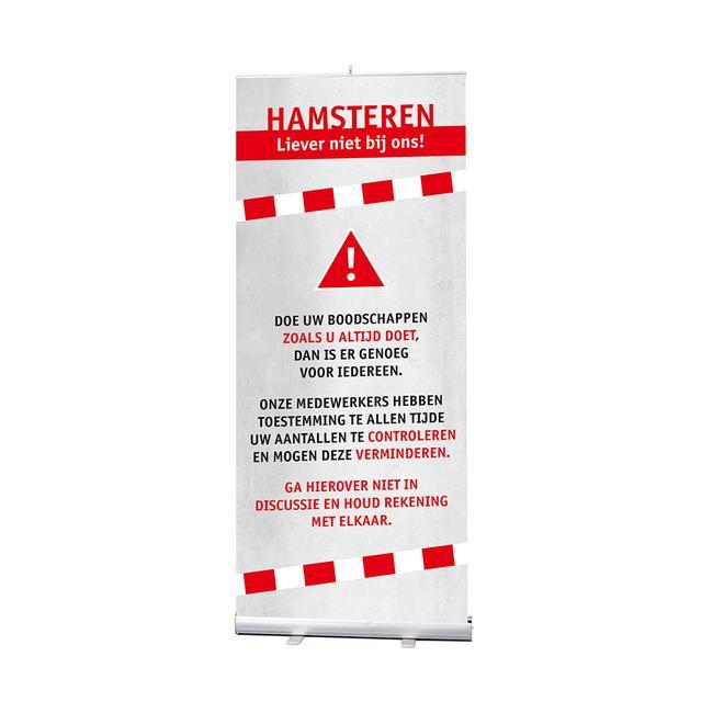 "Rollbanner ""Stick"" inkl. Banner ""Hamsterkäufe"""