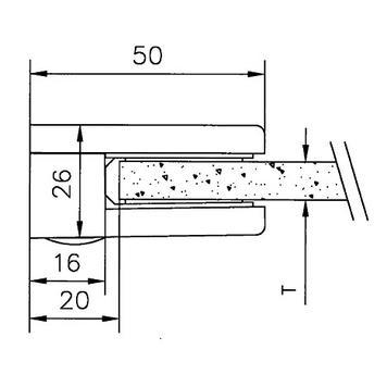 Kleine glasklem voor montage aan wanden - 6 en 8 mm