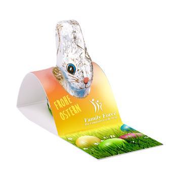 Chocoladepaashaas van Klett met reclamekaart