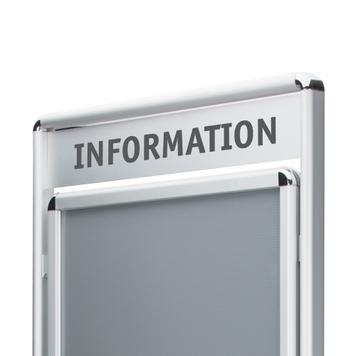 """Posterstandaard """"Info"""" met topbord, 32 mm profiel, zilver geëloxeerd, ronde hoeken, 2-zijdig"""