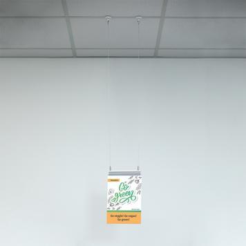 Staalkabelophanging voor posterrail
